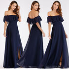 Ever-Pretty Off-Shoulder Long Wedding Party Dress Backless Split Ball Gowns 0968