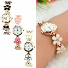 Fashion Women Flower Round Dress Watch Quartz Analog Bracelet Wrist Watches Gift image
