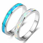 Exquisite 925 Silver White/Blue Fire Opal Ring Women Wedding Engagement Jewelry image