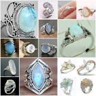 925 Silver White Fire Opal Women Jewelry Wedding Engagement Ring Size 6-10