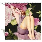 CafePress Modern Pin Up Girl Retro Roses Shower Curtain (1283251317)