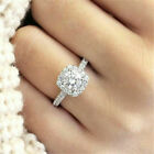 Luxury White Sapphire Silver Plated Promise Ring Wedding Jewelry Gift Size 5-10 image