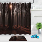 Sunset In The Forest Polyester Fabric Waterproof Mildew Shower Curtain 12 Hooks