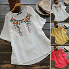 Women Short Sleeve Embroidered Shirts Ethnic Summer T-Shirt Blouse Tee Tops Plus