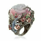 Unique Turkish 925 Silver Floral Cocktail Ring Women Wedding Jewelry Flower 6-10