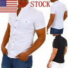 US Men's Casual Shirts Solid Color Short Sleeve Cotton Button Down T Shirts 03