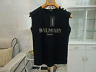 Women's Summer Black Tops Cotton Simple Sliver Buttons Letters Bal-main T-shirts