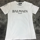NWT White Women's Summer Tee Cotton Simple Black Letters Print Bal-main T-shirts