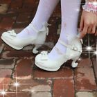 Yoooc Womens Bowknot Lolita Lace Kawaii Mid Heel Cosplay Shoes Buckle Fairy Sand
