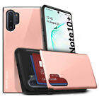 For Samsung Galaxy Note 10, Note 10+Plus Case Hard Back Card Pocket Wallet Cover