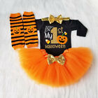 My 1st Halloween Baby Girl Pumpkin Outfits Romper Jumpsuit+Tulle Skirt Set 0-24M