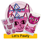 LETS PAWTY Birthday Party Range - Tableware Supplies Decorations Girl Cat Kitten
