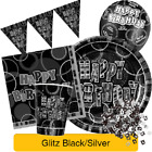 BLACK & SILVER GLITZ - ALL AGES - Birthday Party Range - Tableware Decorations