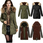 Womens Hooded Coat Fur Collar Long Sleeve Jacket Trench Parka Hoodies Overwear