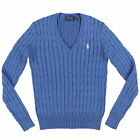 Polo Ralph Lauren Womens Sweater Cable Knit V-Neck Outerwear Pony Logo New Nwt
