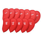 Golf Iron Head Covers PU Leather 12 Pcs Velco Club Headcover Protect Kit