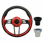 "Golf Cart Custom RED 13"" Steering Wheel EZGO CLUB CAR YAMAHA with Adapter"