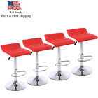 Set Of 4 Bar Stools Pu Leather Adjustable Swivel Pub Kitchen Home Dining Chairs