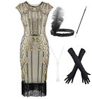 1920s Women Gatsby Cocktail Flapper Dress with 20s Headband Accessories Set