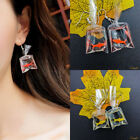 Novelty Goldfish Water Bag Dangle Hook Earrings Fashion Charm Womens Jewelry