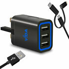 Super Fast 3 Port USB Wall Battery Charger Power Plug and Cable For Mobile Phone