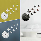 Modern Removable Mirror Acrylic Wall Clock Butterfly Sticker DIY 3D Home Decor