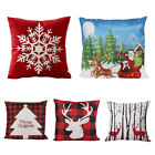 """2 x 18"""" Santa Christmas Reindeers Pattern Pillow Case Cover Square Holiday Gift image"""