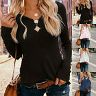 Women Pullover Long Sleeve Casual Solid T-shirt V-neck Slim Tops Blouse GIFT 03