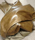 BR728 Leather Cow Hide Cowhide Upholstery Craft Fabric Distressed Olive Green