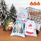 Christmas Gift Bags Assorted Styles Drawstring Canvas Print Storage Bags 20*16cm