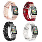 Bling Pearl Stretch Bracelet Watch Band Strap For Apple Watch iWatch 5 4 3 44mm image