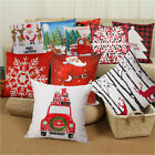 Deer Snowflake Xmas Trees Holiday Decorative Cushion Cover Cotton Linen 18x18 In image