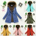 Jacket Trench Outwear Women Winter Warm Hooded Coat Windproof Faux Fur Parka