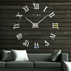 DIY Large Roman Numerals Wall Clock Modern 3D Mirror Surface Wall Watch US SHIP