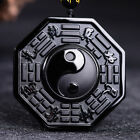 Black Obsidian Carving Yin Yang Wolf Dragon and Phoenix Necklace Lucky Pendant