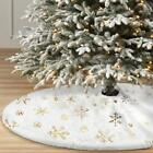 Christmas Tree Skirt  White Luxury Faux Fur With Snowflakes For Xmas Ornaments