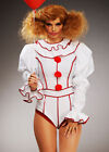 Womens It Clown Fancy Dress Halloween Gothic Circus Costume White & Red