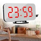 Dual USB Digital LED Snooze Alarm Clock Mirror Surface Night Light Display New