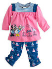 Disney Store Baby Girls Minnie Mouse  Daisy Sailboat Adventure Tee  Pants Set