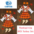 2019 Kids Baby Girls Thanksgiving Turkey Clothes Tops+Suspender Skirt Outfit Set
