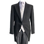 BLACK TAILCOAT SUIT WEDDING GREY CIRCLE WAISTCOAT AND STRIPE TROUSERS 3 PIECE