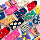 Women Socks Funny Cute Cartoon Fruits Cookie Donuts Food Skateboard Socks
