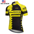 Men's Yellow Black Cycling Jersey Short Sleeve Breathable Quick Dry Riding Shirt