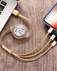 3-in-1 Telescopic Fast Charging Data Line One-Drag-Three General Phone Cable 1m