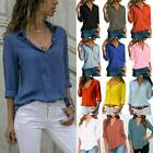 Womens Long Sleeve V-neck Loose Tops Ladies OL Casual Button Down Shirt Blouse