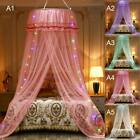 LED Princess Dome Lace Mosquito Net Bed Canopy Netting Fly Protection 5 Colors image