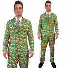 Mens Christmas Suit Sprout Carrot Funny Patterned Fancy Dress Costume 3 Piece