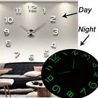 Huge Luminous Clock DIY Design 3D Modern Home Decoration Gadget Wall Hanging NEW