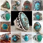 Vintage Women Turquoise Gem 925 Silver Ring Anniversary Wedding Jewelry Size6-10