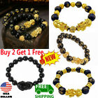 Feng Shui Black Obsidian Pi Xiu Wealth Bracelet Attract Wealth 10mm 12mm 14mm US image